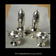 4 Antique Baldwin And Miller Sterling Silver Open Salt And Shakers