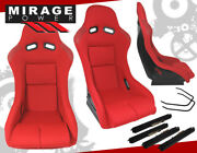 Full Bucket Automotive Car Racing Seats Jdm Track Style With Sliders Pair Red