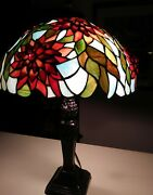 """25"""" Antique/vintage Inspired 3-dimension Leaded Stained Glass Lamp"""