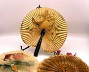 Three Vintage Chinese Paper Lace Bamboo Folding Hand Held Fan