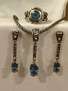 John Atencio 18k Gold Silver Blue Topaz Necklace Earrings And Ring Collection