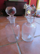 Pair Of Glass Cologne Perfume Scent Dresser Bottles With Cut Glass Stoppers
