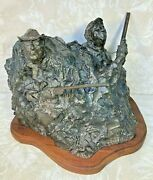 Bronze Sculpture Of Duck Hunters In Blind By Bruce Smith 1977 Alfred King Collec