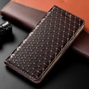 Genuine Leather Grid Phone Case Wallet Flip Cover Capa Anti Knock For Samsung