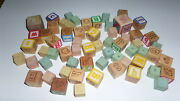 Lot Of Vintage Wood And Rubber Letter Blocks S18