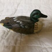 Hand-painted Wooden Shoveler Duck Miniature 5 Inches Made In Philippines 1990s