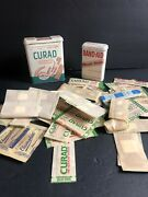 Vtg Curad And Band Aid Tin Plastic Bandages A Curity Product Kendall Co Prop Lot