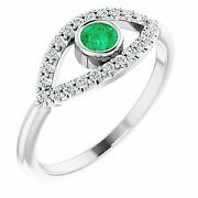 Emerald And White Sapphire Evil Eye Ring In Platinum