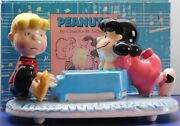 Vintage Peanuts Snoopy Lucy And Schroeder Willitts Ceramic Music Box Rare