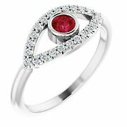 Ruby And White Sapphire Evil Eye Ring In Platinum
