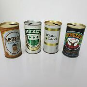 Vintage Beer Cans Set Of 4 - White Label, Mickey's, Schell's, And Metbrew - Empty