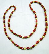 Coral And 22 K Gold Beads Necklace Vintage Natural Coral Strand