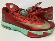 """Nike Kd 6 """"christmas"""" Size 8.5 Xmas Red Green Egg Nog Durant Vnds"""