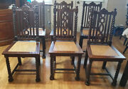 Set 6 Antique Ornate Dining Chairs 1920's Berkey And Gay Antique Oak Table Sep