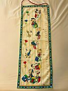 Vintage Snoopy Peanuts Hanging Fabric Growth Height Chart 5and039