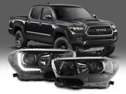 Trd Full Black Led Drl Plug And Play Headlight For 16-21 Tacoma Model Without Led