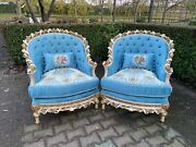 French Louis Xvi Made To Order Hand Carved Solid Wooden Chairs - A Pair