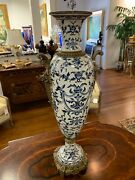 French Hand Painted Porcelain And Bronze Antique Style Vase