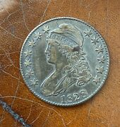 1828 Capped Bust Half Dollar 50 Cent Square Base 2 Small 8's Large Letters Vf