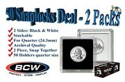 50 Bcw 2x2 Coin Snaplock Holders Us Quarter Size 24.3mm Hole Archival Capsules