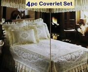 Queen Lace Coverlet 4pc Set Ivory Cotton Blend Victorian Rose Bedroom New