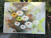 Vintage Mid Century Oil Painting Of Spring Daisy Flowers By Gregory Wells