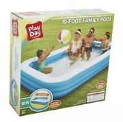 Play Day Deluxe 10 Foot Inflatable Family Swimming Pool Outdoor 120 X 72 X 22