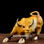 Bronze Painted Chinese Zodiac Wealth Fengshui Animal Wall Street Ox Bull Statue
