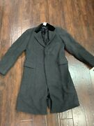 Double Rrl Mens Black Heavy Wool Officers Trench Pea Coat Jacket S