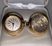 Vintage Baume And Mercier 14k Gold Watch Cufflinks Rare Antique Collectible Gold