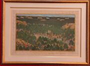 Hand Painted Synt. Ivory Hunting Scene Miniature Painting India Artwork Framed