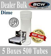500 Bcw Round Clear Dime Tubes 17.9mm Archival Storage Screw Caps 5 Boxes Case