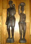 Pair Large 24-25 Tall African Art Wood Sculptures Man And Partly Nude Woman Nice