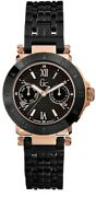 New Authentic Guess Collection G45002l1 Black Stainless Bracelet Rose Gold Watch