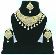 Bridal Cubic Zircon Necklace Wedding Collection Gold Plated Party Wear Jewelry