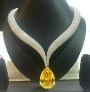100ct Yellow Pear 925 Sterling Silver Studded Statement Collar Necklace Women