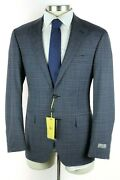 Nwt 2350 Canali 1934 Kei Unstructured Blue Check Wool Suit 48 R Fits 46 R