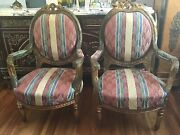 Pair Of French Louis Xvi Style Antique Giltwood Fauteuils Arm Chairs
