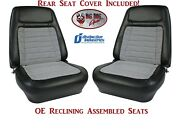 Fully Assembled Oe Deluxe Reclining Seats And Rear Seat Cover For 1968 Camaro