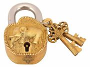 Vintage Style Antique Elephant Design Brass Security Lock With 2 Keys Home
