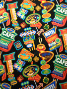 Route 66 Diner Coffee Food Motel Signs Black Bty Sew Quilt Cotton Print C