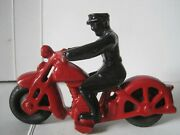 Old Lead Police P.d.patrol 5 Motorcycle Reproduction Hubley Style Toy Handmade
