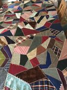 """Vintage Crazy Quilt Topper Very Nice Approx 78""""x78"""""""