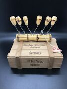 Nos Rostfrei Poliert Vintage Tit Bit Forks Bamboo - Keep Your Germs On Your Fork