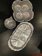 Wilton Armetale Cabbage Lettuce Leaf Bowl Set And Oval Platter Rwp Pewter