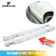 2pcs Car Side Skirts Trim Body Kits Fit For Audi A7 2012-2017 Gray Pu Unpainted
