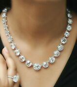 925 Sterling Silver Victorian Style Collet Graduated Riviere Necklace Party