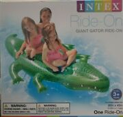 Intex Ride - On Alligator Inflatable Pool Float Water Toy Giant Gator Ages 3+