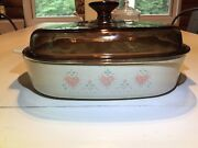 2.5 Quart Square Casserole Corning Ware W/ Amber Pyrex Lid-forever Yours Corelle