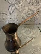 Antique Copper Sauce Pan Pot Set With Handle Hand Made Signed Albania 401